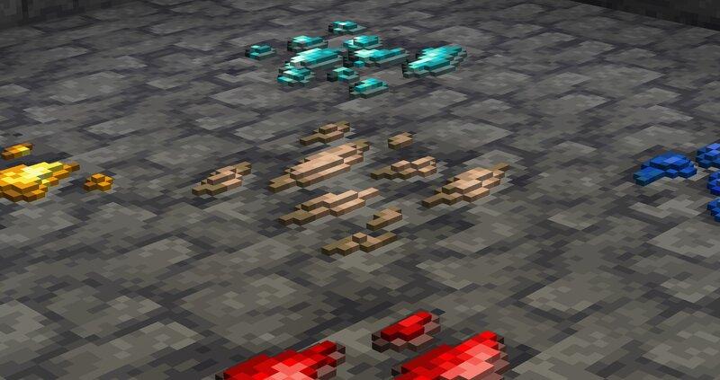 Zoomed deepslate ore variants