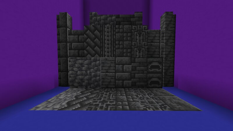 Full collection of blocks, including the changes to Brick and Polished Walls. Each vanilla block's double slab form will create the new variant shown above it