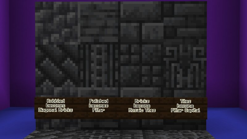 Showcase of which vanilla blocks become their new variants when placed as a double slab