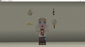 Hololive Amelia Watson's accessories (magnifying glass, mustache, new AsaCoco/Concoction syringe, pocket watch) Minecraft Texture Pack