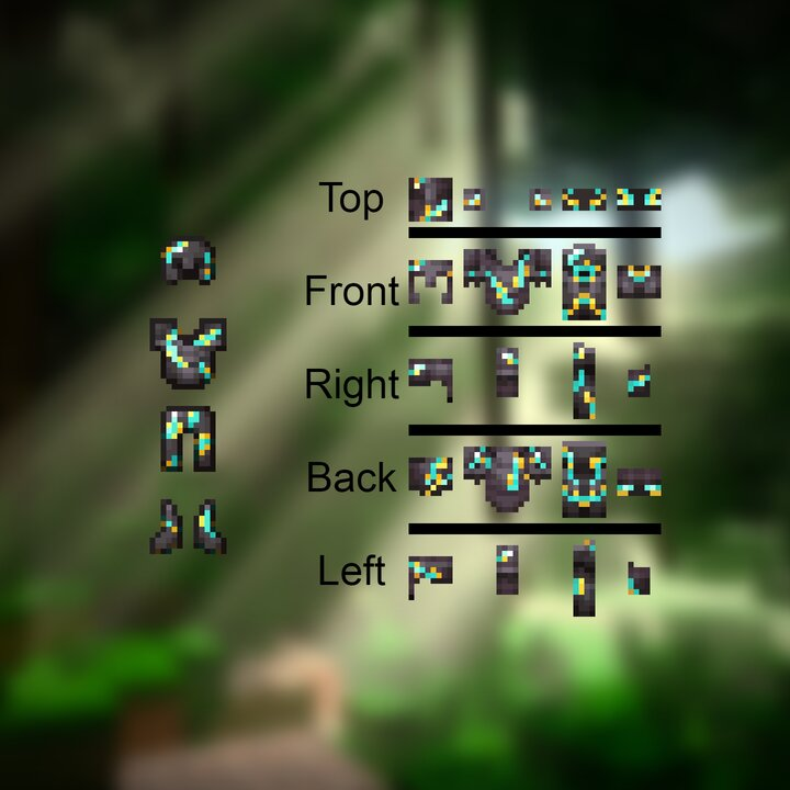 2D view of the sides on each individual piece of armor  and  Armor item textures