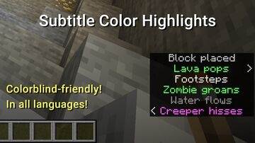 Subtitle Color Highlights Minecraft Texture Pack
