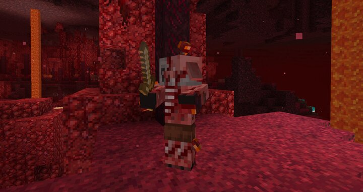 In the nether, zombified piglins will have crimson fungi growing from them