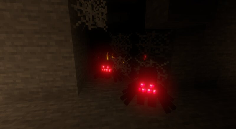 Cave spiders guarding their spawner