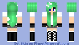 Aღ૪ Casual Green Hair Girl Original Minecraft Skin