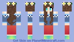 ♫★Brown Hair Flower Crown Girl♫★ Minecraft Skin