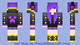Purple Gamer Creepah Gurl Minecraft Skin