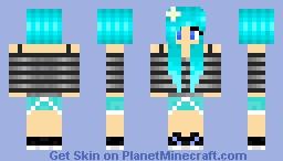 Punk Blue Hair Girl Minecraft Skin