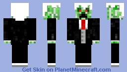 Creeper in a black suit, red tie, grey waistcoat, white shirt and black trousers Minecraft Skin