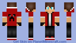 Ryan OWNZallROUND Skin with Creeper face on back! Minecraft Skin