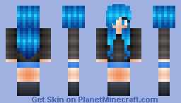 Blue Haired Girl Minecraft Skin