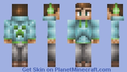 Awesome crazy cool completely original amazing creeper hoodie skin boy dude with epic headphones!! diamond if u liek LOOKS WAYY BETTER IN 3D!!!!!! Minecraft Skin