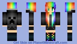 Creeper Hoodie Rainbow Girl Minecraft Skin