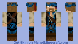 Blue Pirate - Blond Hair. Minecraft Skin