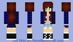 Blue Plaid Girl With Converse Red Head (Alex skin) Minecraft Skin