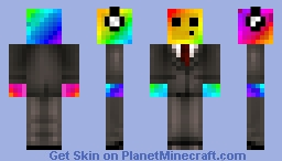 Rainbow slime in a brown suit Minecraft Skin