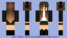 Girl In Black Checkered Top Minecraft Skin