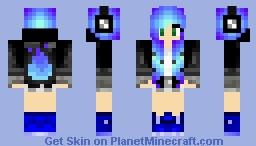 ~*Super*~ Blue Neon Fire Girl Minecraft Skin