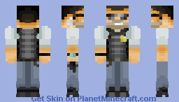 Mid 20's Cool Shade Wearing Private Detective/Cop/Action Hero with a tan Minecraft Skin