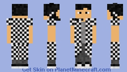 Black & White Checkered Male Skin Minecraft Skin