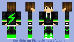 Shaded Creeper Lightning Teen - Looks better once been clicked on! Minecraft Skin