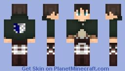 AoT ➢ Eren Jäger ✯Survey Corps Cape✯ Minecraft Skin
