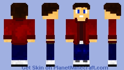 Boy - Red Button-Up Minecraft Skin