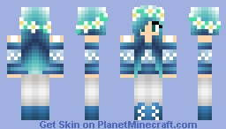 Cute Blue Mermaid Hair Winter Girl Minecraft Skin