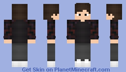 Boy Sweatshirt Red & Black Minecraft Skin