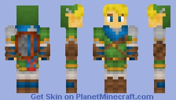 Hyrule Warriors Link(LINK WITH HYLIAN SHIELD IN DESC.!) Minecraft Skin