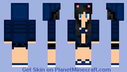 ~ Dark Blue Cat Girl ~ Minecraft Skin