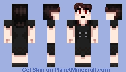 Creepy Girl with Red Highlights (Hair Shading Practice) Minecraft Skin
