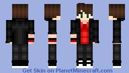 Black Jacket With Red Shirt   -   ECHO Minecraft Skin