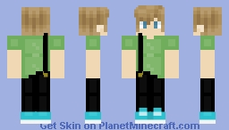 Brown haired boy with suspenders Minecraft Skin