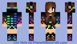 Rainbow DJ girl Minecraft Skin