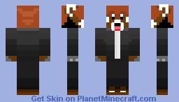 Red Tuxedo Panda Minecraft Skin