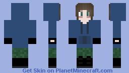 Tired Emo in Blue Hoodie Minecraft Skin