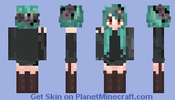 Emo girl with swampy/toxic hair Minecraft Skin