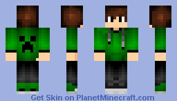 creeper on back with green hoodie