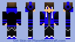 Black/Blue hoodie Minecraft Skin