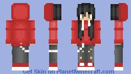 Girl With red Hoodie Minecraft Skin