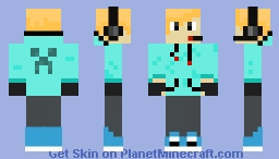 Male Gamer With LIght Blue Creeper Hoodie Minecraft Skin