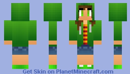 Cool Green Hoodie Girl Minecraft Skin
