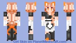 Orange Neko Maid Minecraft Skin