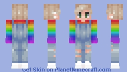 Rainbow dungaree ☁ [Girl in desc] Minecraft Skin