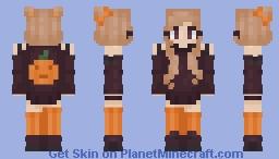 🎃 Pumpkin sweater girl for Halloween 🎃 (hair variants) Minecraft Skin