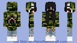 Girl with Bape Hoodie and Mask Minecraft