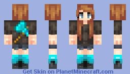 Diamond Axe Girl Minecraft Skin
