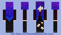 Girl with purple and blue hair, flannel and black ripped pants Minecraft Skin