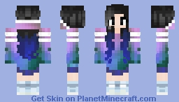 Girl / Black hair + Ponytail / Galaxy Outfit | 「Casual Girls」 Minecraft Skin